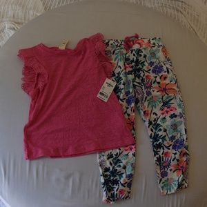 Girls short sleeve shirt with cotton pants